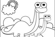 A brontosaurus and his baby stand and smile in this printable coloring page for ...