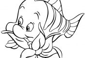 Flounder Biting Flower Cartoon Coloring Page | Free Printable