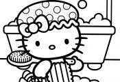 Hello Kitty Bathing Coloring sheets