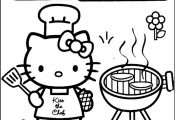 Hello Kitty - Grill Chef Barbecue - Coloring Page