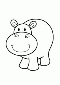 Hippo smiling – cartoon animals coloring pages for kids, printable free Wallpaper