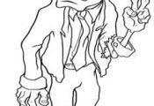 Print the Cute Zombie Coloring For Kids and then fill it with crayons or colored...