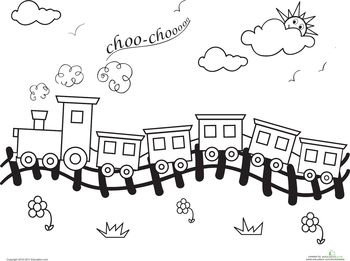 Worksheets: Choo-Choo Train Coloring Page Wallpaper