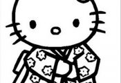 hello kitty coloring pages | Hello Kitty Wear Kimono Coloring Pages Hello Kitty ...