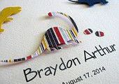 #3 or 5 Dinosaurs Personalized Name #3D Paper Art. Navy, Red, Yellow Stripes or ...
