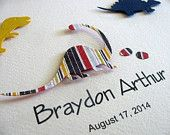 3-or-5-Dinosaurs-Personalized-Name-3D-Paper-Art.-Navy-Red-Yellow-Stripes-or #3 or 5 Dinosaurs Personalized Name #3D Paper Art. Navy, Red, Yellow Stripes or ... Dinosaurs