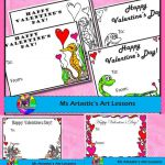 5 Valentine's Day colored or coloring Cards! 5 of my hand drawn, cartoon col...