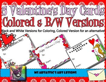 5-Valentine39s-Day-colored-or-coloring-Cards-5-of-my-hand-drawn-zen-carto 5 Valentine's Day colored or coloring Cards!  5 of my hand drawn, zen, carto... Cartoon
