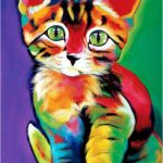 5D DIY Diamond painting craft kit.  Cartoon Colorful Calico Cat.  Square drill, ...