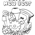 A Cute Little Train Says Happy New Year Coloring Page - Free ...