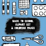 Back to school clipart! 25 black & white clipart elements and 3  coloring pages.