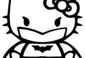 Batman Hello Kitty Coloring Sheet #SuperHero #SuperHeroes #Hero #Heroes #Colorin...