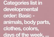 Categories list in developmental order: Basic - animals, body parts, clothes, co...
