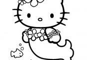 Coloriage Hello Kitty en Sirène!