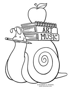 Coloring-Page-Tuesday-Back-to-School-Snail Coloring Page Tuesday! - Back to School Snail Cartoon