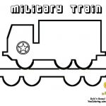 Coloring Page of Army Train with Truck