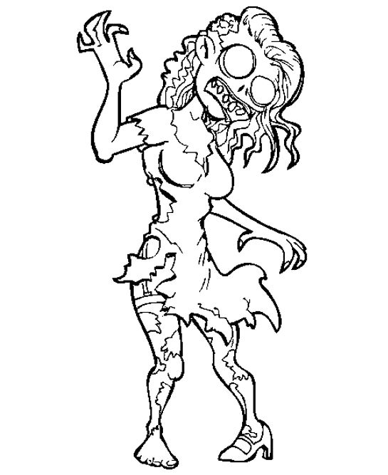 Crazy Zombie coloring For Kids – Halloween cartoon coloring pages Wallpaper