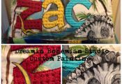 Custom Prehistoric Applique Name Pillow with Dinosaurs, Palm Trees and your Imag...