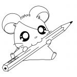 Cute Hamsters Sleeping Hamtaro Coloring Page - Cartoon Coloring
