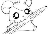 Cute Hamsters Sleeping Hamtaro Coloring Page - Cartoon Coloring