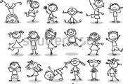 Cute happy cartoon kids