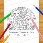 Dinosaur Cartoon Mandala Colouring Page - Cute Printable Digital Download For Ad...