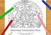 Dinosaur Cartoon Mandala Colouring Page - Cute Printable Digital Download For Ad...