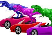 Dinosaurs In The Cars Race | Learn Colors | Learn Colors With Animals Names & Le...