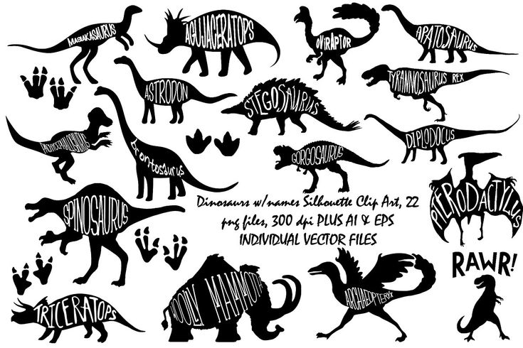 Dinosaurs w/names AI EPS PNG