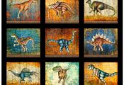FABRIC BY THE PANEL 36x44 - Fabric is 43/44 wide LARGE DINOSAUR PATCHES Style # ...