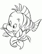 Flounder Biting Flower Cartoon Coloring Page Wallpaper