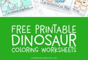 Free Dinosaur Coloring Page Worksheets For Kids | Kids art activities    #dinosa...