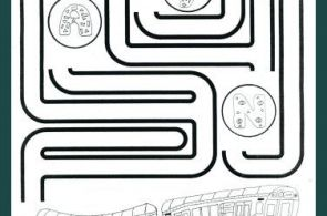 Free, printable subway train coloring page with maze.