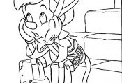 Funny Pinocchio cartoon coloring pages for kids, printable free