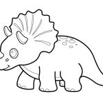 Funny dinosaur triceratops cartoon coloring pages for kids, printable free