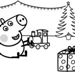 George Plays with Xmas Train Coloring page