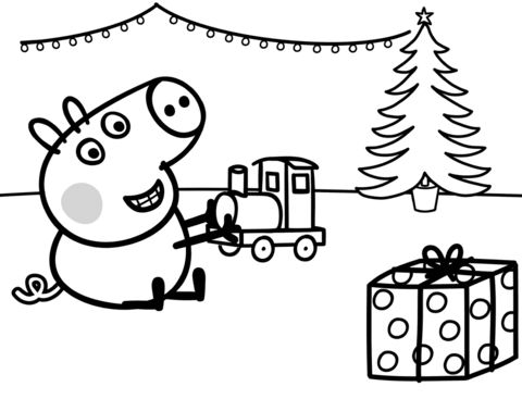 George-Plays-with-Xmas-Train-Coloring-page George Plays with Xmas Train Coloring page Train