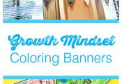 Growth Mindset pennant banner coloring pages / back to school activity / color t...