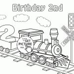 Happy 2nd Birthday Card with Train coloring page for kids, holiday coloring page...