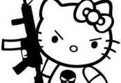 Hello Kitty AR-15 Punisher Skull - Die Cut Vinyl Sticker Decal