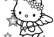 Hello Kitty Snow Angel Christmas Coloring Page
