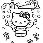 In this coloring page, Hello Kitty is having fun playing with a bubble blower! W...