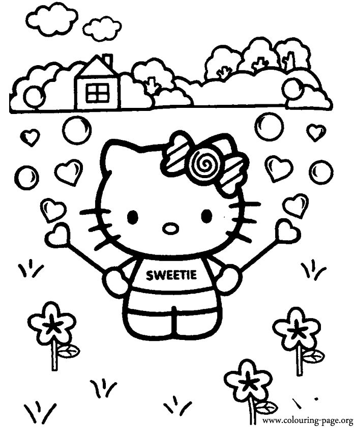 In-this-coloring-page-Hello-Kitty-is-having-fun-playing-with-a-bubble-blower-W In this coloring page, Hello Kitty is having fun playing with a bubble blower! W... Hello Kitty