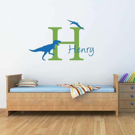 Initial-Name-Wall-Decal-with-Dinosaurs-by-StephenEdwardGraphic-36.00 Initial & Name Wall Decal with Dinosaurs  by StephenEdwardGraphic, $36.00 Dinosaurs