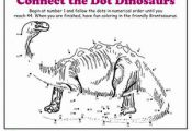 Kindergarten Dinosaurs Dot-to-Dots Worksheets: Dot-to-Dot Dinosaur: Brontosaurus