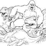 King Kong Fighting With Dinosaurs Coloring Pages