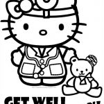 Know someone who is not very well or is in hospital? Cute Hello Kitty coloring p...
