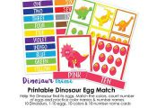 Match the dinosaurs with their eggs by color & pattern. Match the Color name car...