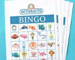 Octonauts Birthday Party Free Printable Bingo Game