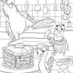 Parrots cooking coloring pages for kids, printable free - Rio 2 cartoon